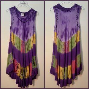 Boho Tye Dye Sleeveless Embroidered Swing Dress